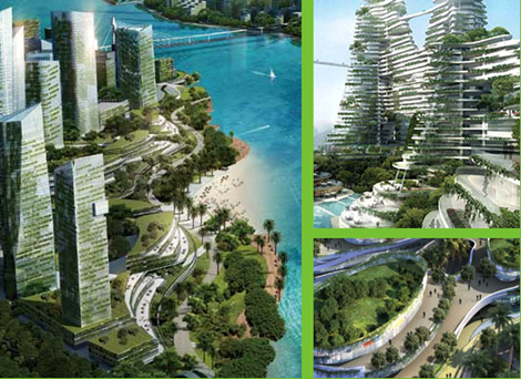 森林城市海边风景