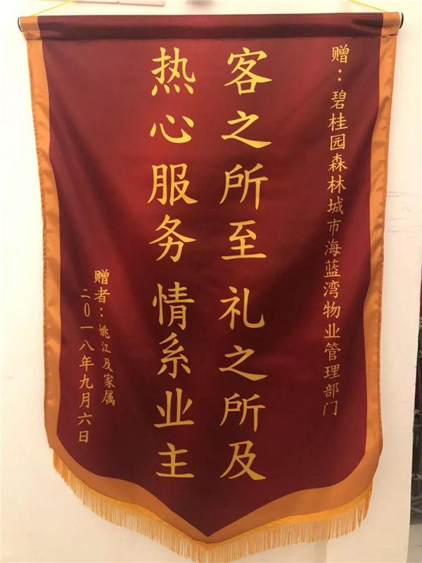 业主赠送蓝海湾物业管理部门的锦旗