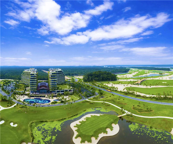 蓝天白云下的碧桂园森林城市